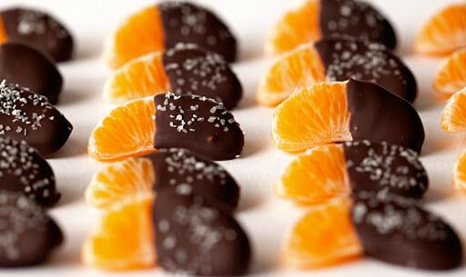 mandarin covered in chocolate